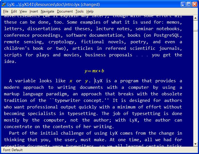 Screenshot of white on blue